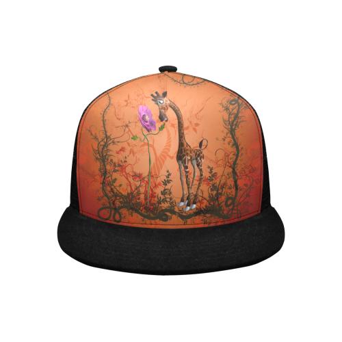 Funny giraffe speak with a flower Trucker Hat H (Front Panel Customization)