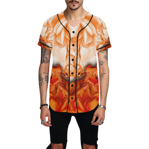 Sorf red flowers with butterflies All Over Print Baseball Jersey for Men (Model T50)