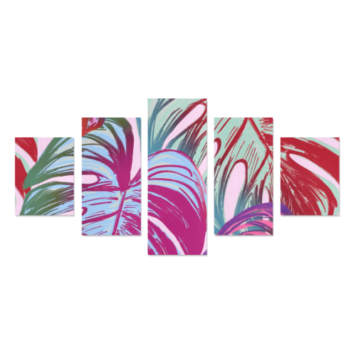 Pretty Leaves B by JamColors Canvas Wall Art Z (5 pieces)