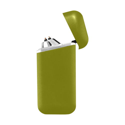 color olive Curved Edge USB Lighter (Lateral Button)