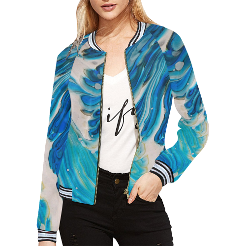 blue feathers All Over Print Bomber Jacket for Women (Model H21)