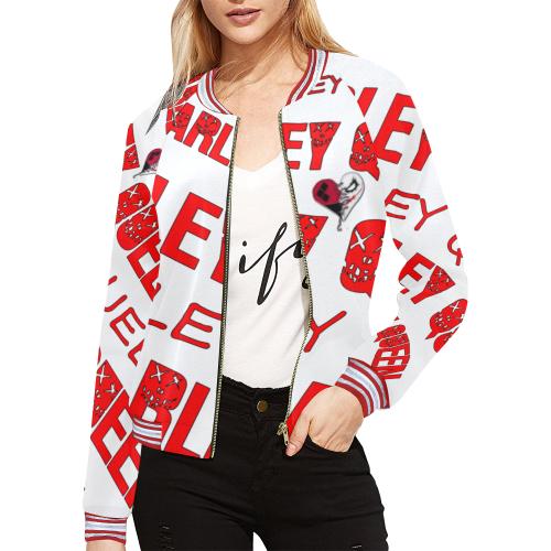 Harley Queen Jacket All Over Print Bomber Jacket for Women (Model H21)