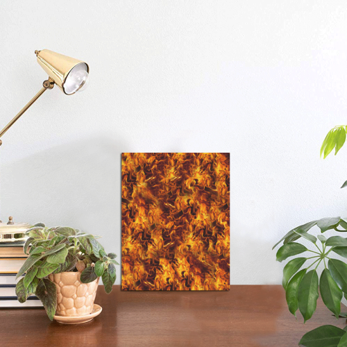 "Flaming Fire Pattern Photo Panel for Tabletop Display 6""x8"""