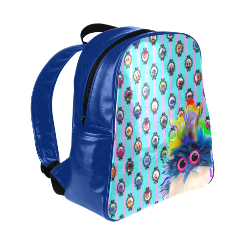 Teal and Lilac and Rhinestone Cowboy Multi-Pockets Backpack (Model 1636)