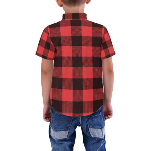 Black and Red Buffalo Print - Kids Boys' All Over Print Short Sleeve Shirt (Model T59)