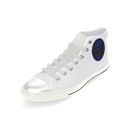 DW wht blue remix Men's Classic High Top Canvas Shoes (Model 017)