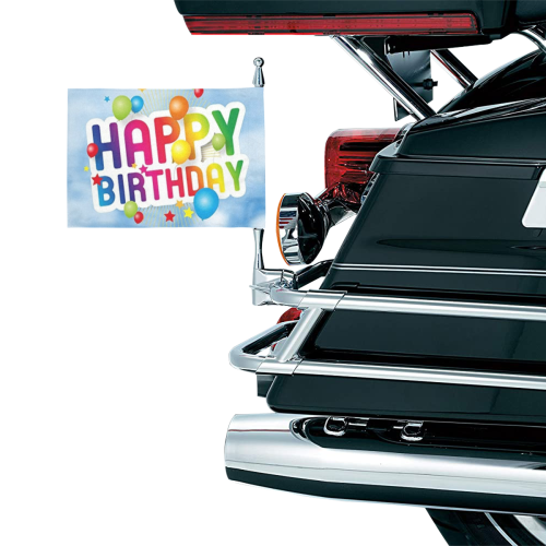 Happy Birthday Motorcycle Flag (Twin Sides)