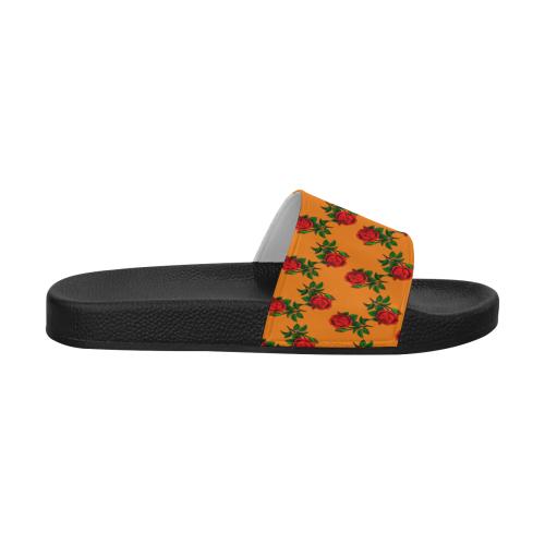 red roses orange Women's Slide Sandals (Model 057)