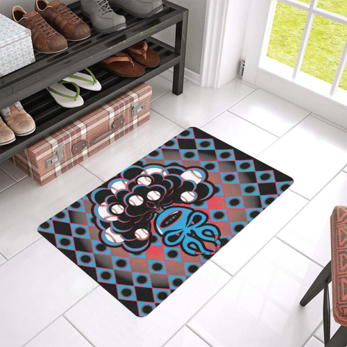 """SkullySpray Miami Doormat Doormat 24""""x16"""" (Black Base)"""