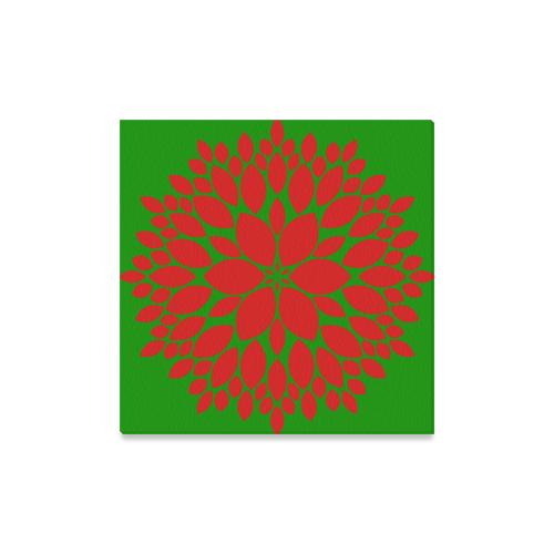 "Red Green Mod Dahlia Canvas Print 16""x16"""