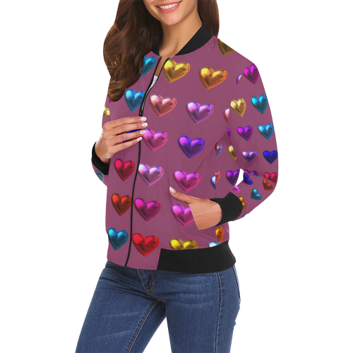 shiny hearts 3 All Over Print Bomber Jacket for Women (Model H19)
