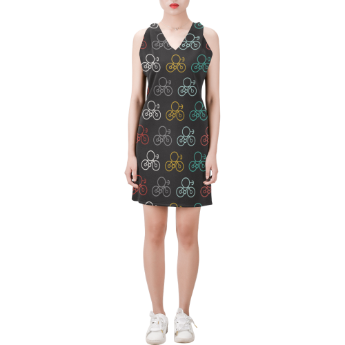 bicycle seamless Sleeveless V Neck Dress (Model D55)