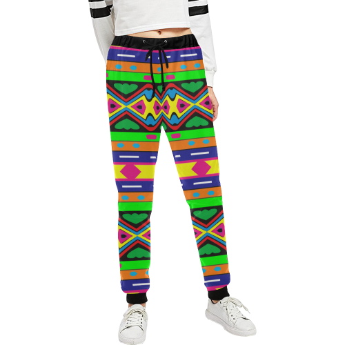 Distorted colorful shapes and stripes Unisex All Over Print Sweatpants (Model L11)