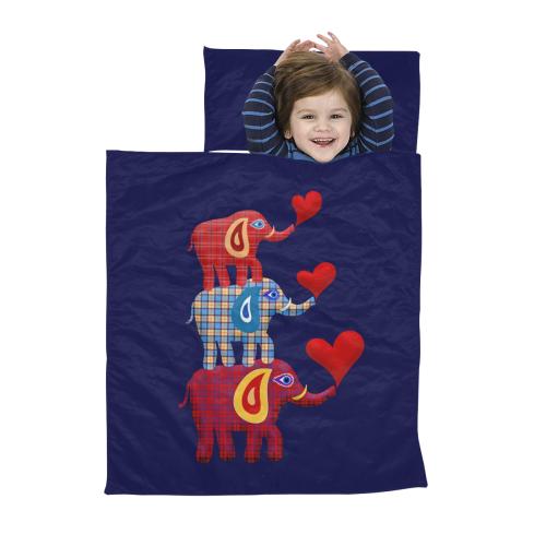 Stacked Plaid Elephants Dark Blue Kids' Sleeping Bag