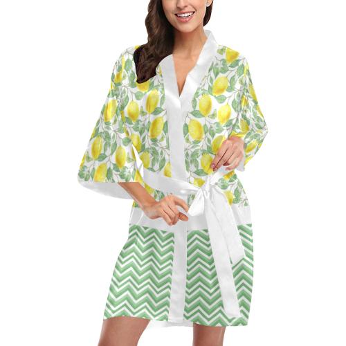 Lemons With Chevron Kimono Robe