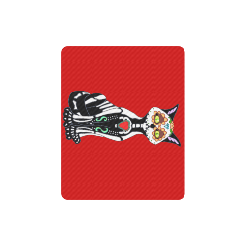 Sugar Skull Cat Red Rectangle Mousepad