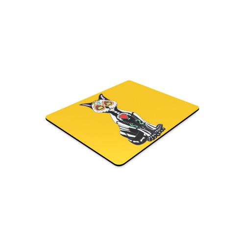Sugar Skull Cat Yellow Rectangle Mousepad