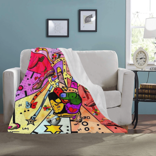 "Peace Popart by Nico Bielow Ultra-Soft Micro Fleece Blanket 40""x50"""