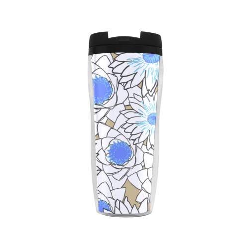 vintage white blue flowers Reusable Coffee Cup (11.8oz)