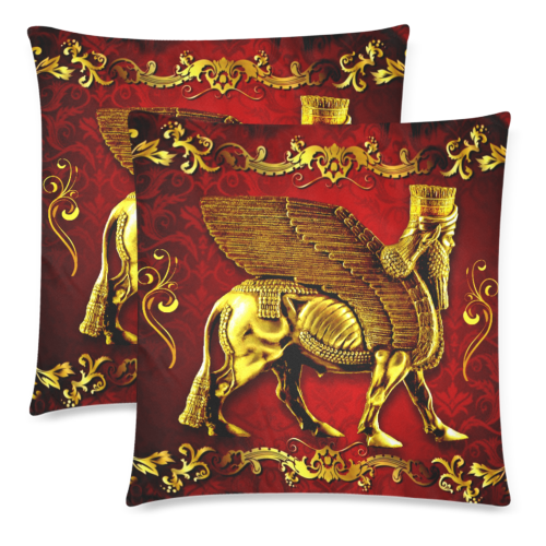 "LAMASSU GOLD Custom Zippered Pillow Cases 18""x 18"" (Twin Sides) (Set of 2)"