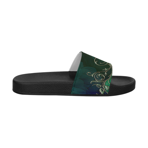 Green floral design Men's Slide Sandals (Model 057)