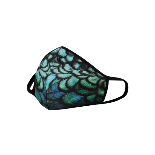 blue feathered peacock animal print design community face mask 3D Mouth Mask (15 Filters Included) (Model M03)