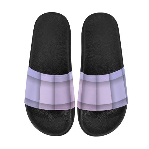 Glass Mosaic Blue Violet Orange Pattern Women's Slide Sandals (Model 057)