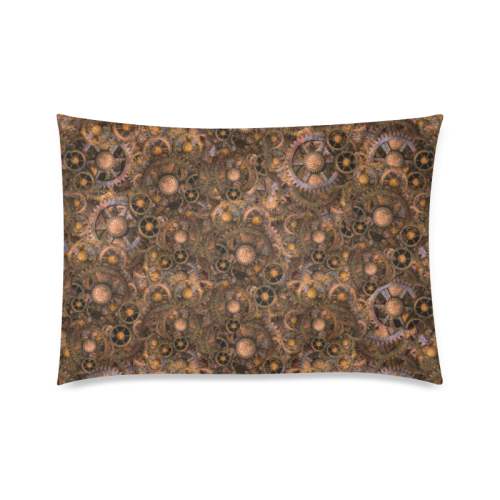 "Steampunk Cogs Custom Zippered Pillow Case 20""x30""(Twin Sides)"