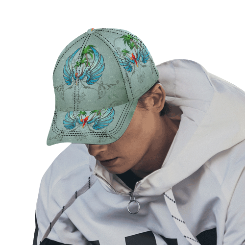 cute parrot with wings and palm All Over Print Dad Cap C (6-Pieces Customization)