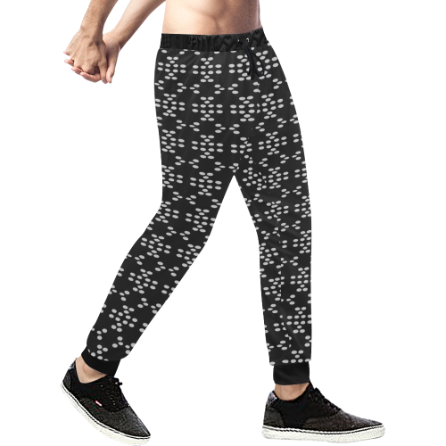 black an white dots Men's All Over Print Sweatpants/Large Size (Model L11)