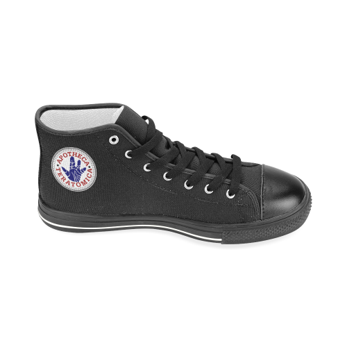 APOTHECA LOGO Black Men's Classic High Top Canvas Shoes (Model 017)
