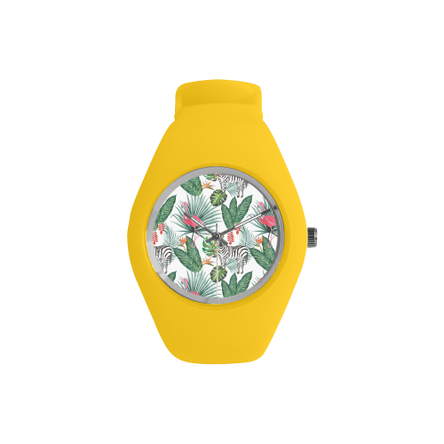 Awesome Flamingo And Zebra Simple Style Candy Silicone Watch (Model 315)