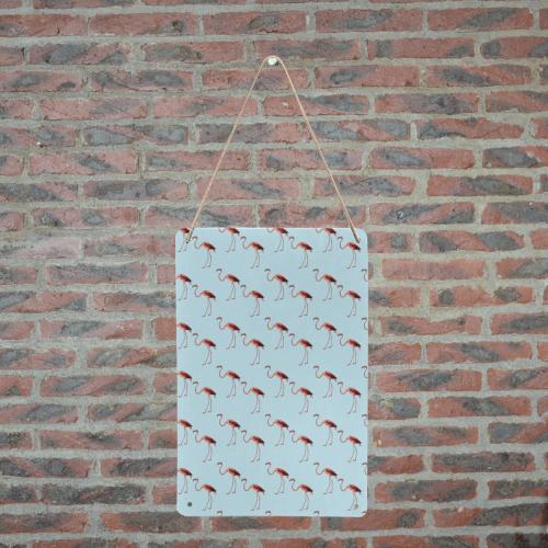 "flamingo pattern blue Metal Tin Sign 8""x12"""