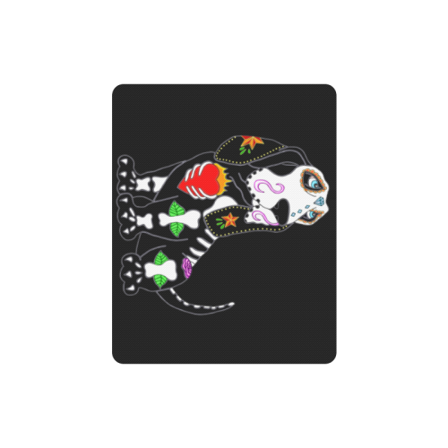 Basset Hound Sugar Skull Black Rectangle Mousepad