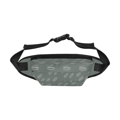 white military tank silhouette pattern on grey background Fanny Pack/Large (Model 1676)