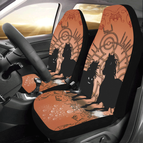 Black horses silhouette Car Seat Covers (Set of 2)