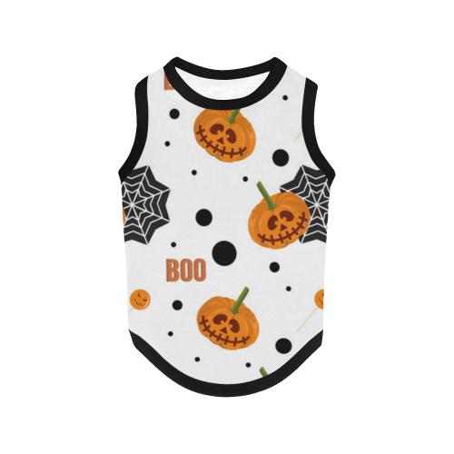 Halloween Pumpkins and Spider Webs All Over Print Pet Tank Top