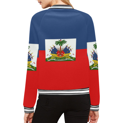 haiti flag All Over Print Bomber Jacket for Women (Model H21)