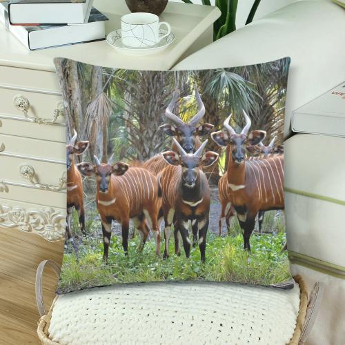 "Bongo Herd Pillow Custom Zippered Pillow Cases 18""x 18"" (Twin Sides) (Set of 2)"