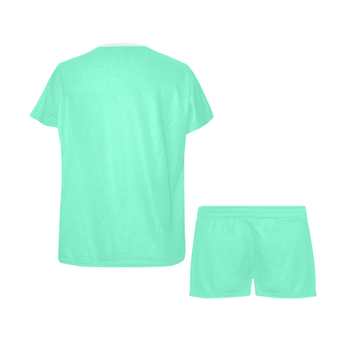 color aquamarine Women's Short Pajama Set (Sets 01)