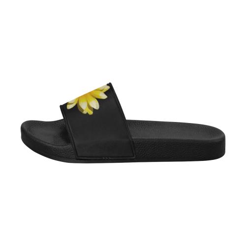 Yellow Flower, floral photography Women's Slide Sandals (Model 057)