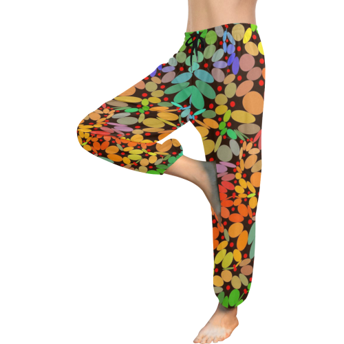 Power Flowers 318B by JamColors Women's All Over Print Harem Pants (Model L18)