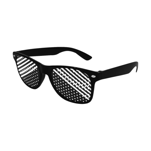 Modern Black Background Diagonal Stripes Cut Custom Goggles (Perforated Lenses)
