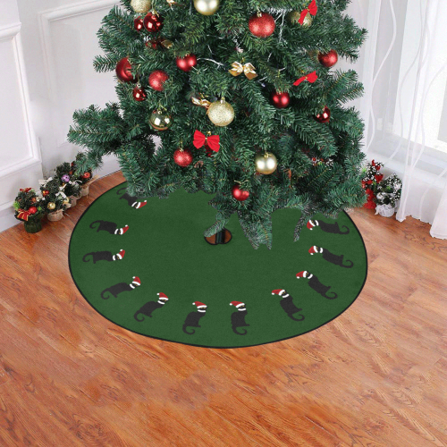 """Le Chat Noir with Santa Hat Green Christmas Tree Skirt 47"""" x 47"""""""