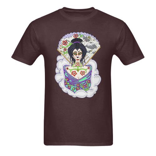 Geisha Sugar Skull Russet Men's Heavy Cotton T-Shirt (Plus-size)