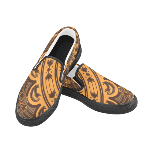Sun Bear Orange/Brown Men's Slip-on Canvas Shoes (Model 019)