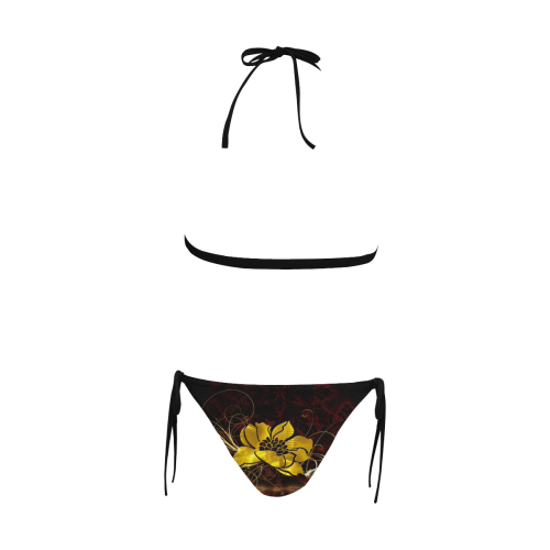 Beautiful flower with leaves Buckle Front Halter Bikini Swimsuit (Model S08)