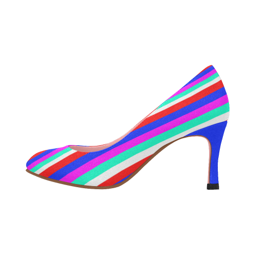 Colored Stripes - Fire Red Royal Blue Pink Mint Wh Women's High Heels (Model 048)