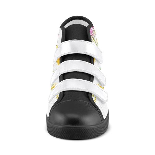 SERIES JASMIN WATERCOLOR FLOWERS III Velcro High Top Canvas Kid's Shoes (Model 015)