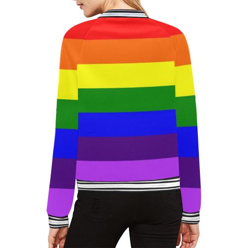 Rainbow Flag (Gay Pride - LGBTQIA+) All Over Print Bomber Jacket for Women (Model H21)